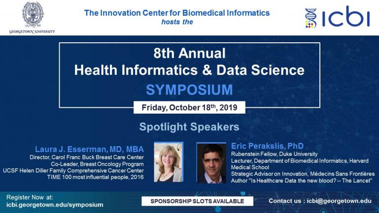 image of symposium brochure for 8th Annual Health Informatics & Data Symposium, Oct 18, 2019